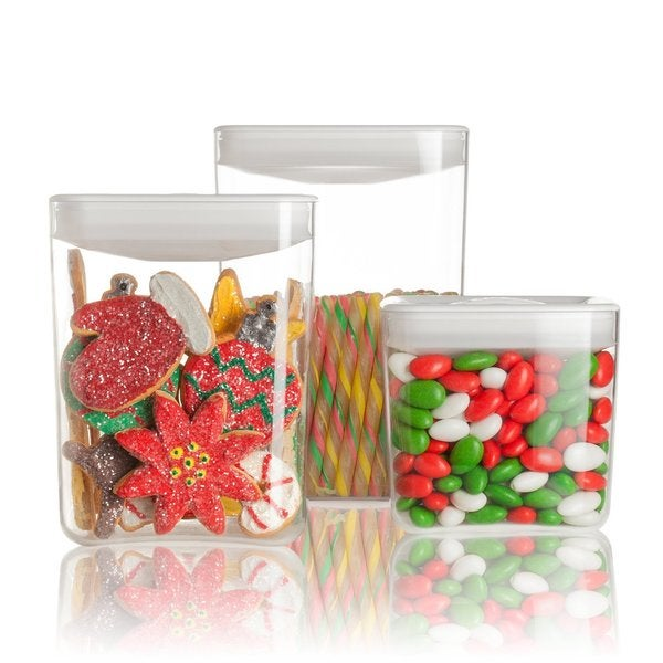 Click Clack Cube Storage Containers White 3-piece Set