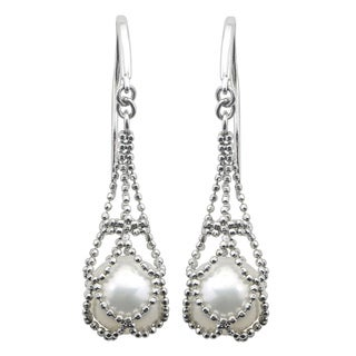 Sterling Silver White Freshwater Pearl Lace Earrings (8-8.5 mm)