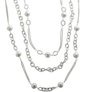Sterling Silver 3-strand White Freshwater Pearl Oval Link Necklace (11-12 mm)