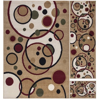 Paterson Collection Beige Contemporary Balloons Design 3-Piece Area Rug Set (5'x7'') (20''x59'') (20''x30'')