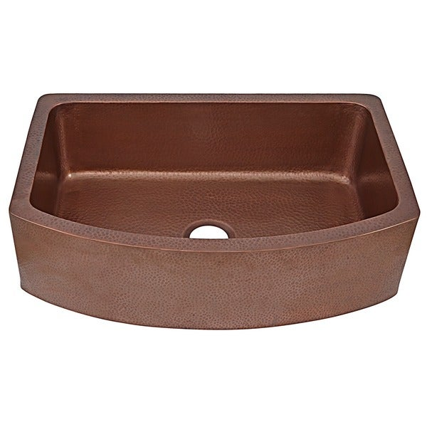 ... Apron Bow Front Handmade Copper Sink 33 in. Single Bowl Kitchen Sink
