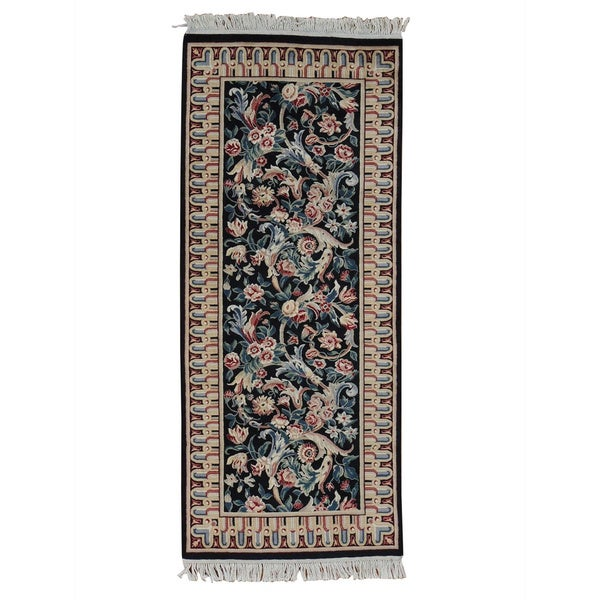 Handmade Runner Pak Persian Navy Blue Oriental Rug (2'7 x 6')