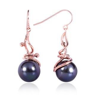 Annello 14k Rose Gold Black South Sea Pearl Dangle Earring (12.40 mm)