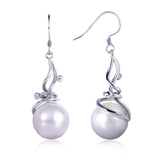 Annello 14k White Gold White Tahitian Pearl Dangle Earring (11.90 mm)