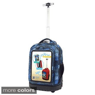 Selfie Club Plaid 18-inch Rolling Backpack with Personalized Front Pocket