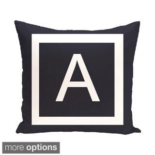 Blue and White 18 x 18-inch Monogram Print Decorative Pillow