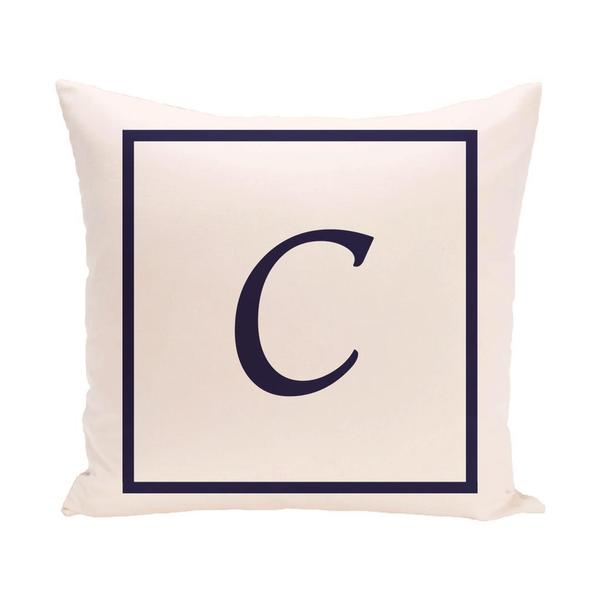 Ivory 18 x 18-inch Monogram Print Decorative Pillow