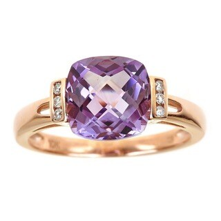 Anika and August 10k Rose Gold Cushion-cut Amethyst Diamond Accent Ring (Size 7)