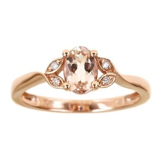 Anika and August 10k Rose Gold Oval-cut Morganite Diamond Accent Ring (Size 7)