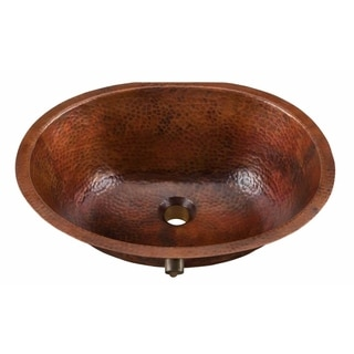 Sinkology Freud 19.25 inch Undermount Oval Handmade Pure Solid Copper Bathroom Sink with Overflow in Aged Copper