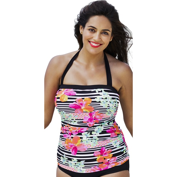 Shore Club Women's Endless Summer Bandeau Halter Tankini Top Size 14 (As Is Item)