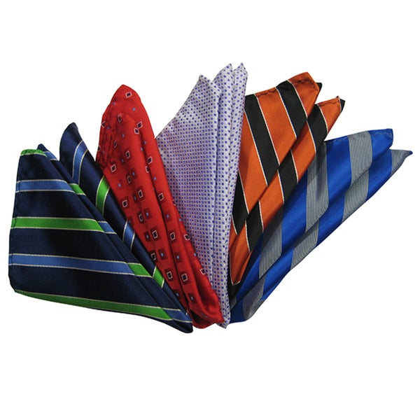 Dmitry Men's Italian Silk Pocket Squares (Pack of 5)