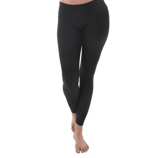 Luna Jai Women's Black Active Fold Over Waist Band Pants