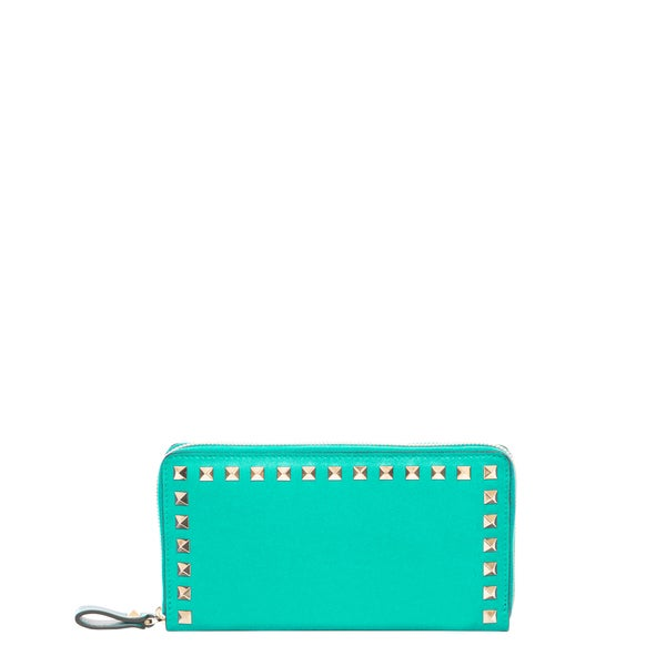Valentino Rockstud Mint Green Zip Around Leather Wallet