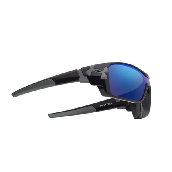Under Armour Trick Shiny Black Blue Multiflection Sunglasses