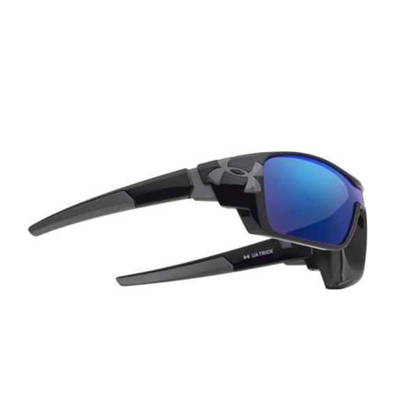 Under Armour Trick Shiny Black Blue Multiflection Sunglasses