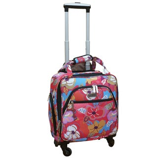 Chocolate New York Bright Flower Under-seat Carry-on Spinner Tote