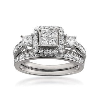 14k White Gold 1ct TDW White Diamond Composite Engagement Ring and Wedding Band Bridal Set (H-I, SI2-I1)