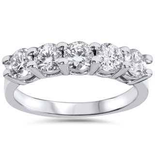 14k White Gold 1 1/4ct TDW Five Stone Diamond Wedding Ring (I-J, I2-I3)