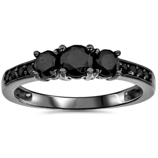Bliss 10k Black Gold 1 1/5ct TDW Black Diamond Three Stone Engagement Ring