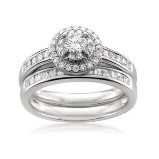 14k White Gold 1ct TDW White Diamond Halo Engagement and Wedding Ring Bridal Set (H-I, SI2-I1)