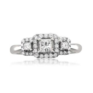 14k White Gold 1/2ct TDW Princess-cut White Diamond 3-Stone Engagement Ring (G-H, SI1-SI2)