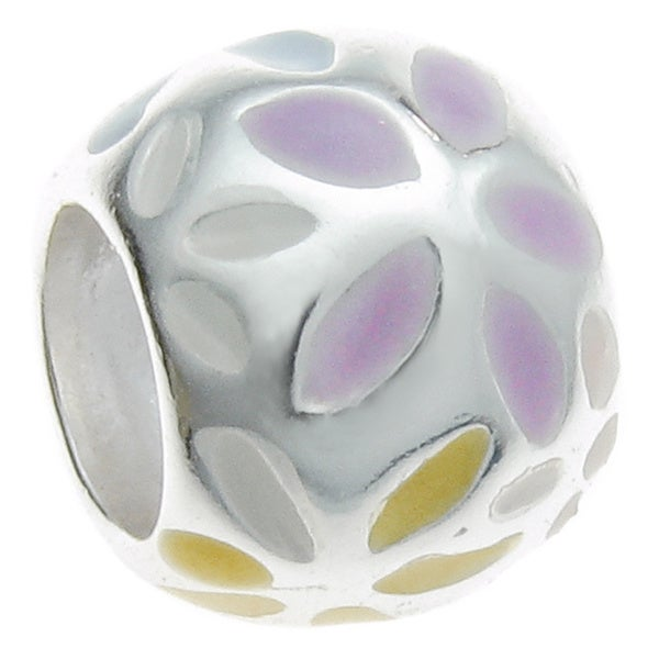 Queenberry Sterling Silver Daisy Enamel European Bead Charm