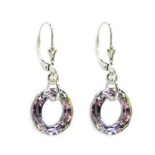 Queenberry Round Ring Vitrial Light Purple Crystal with Sterling Silver Dangle Earring