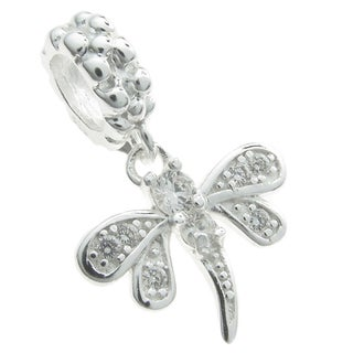 Queenberry Sterling Silver Dragonfly Cubic Zirconia Dangle European Bead Charm