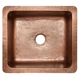 Sinkology Monet Farmhouse Apron Front Copper Sink 25 inch Single Bowl Kitchen Sink in Antique Copper