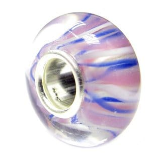Queenberry Sterling Silver Round White/ Blue/ Pink/ Purple Stripes Glass Murano Lampwork European Bead Charm