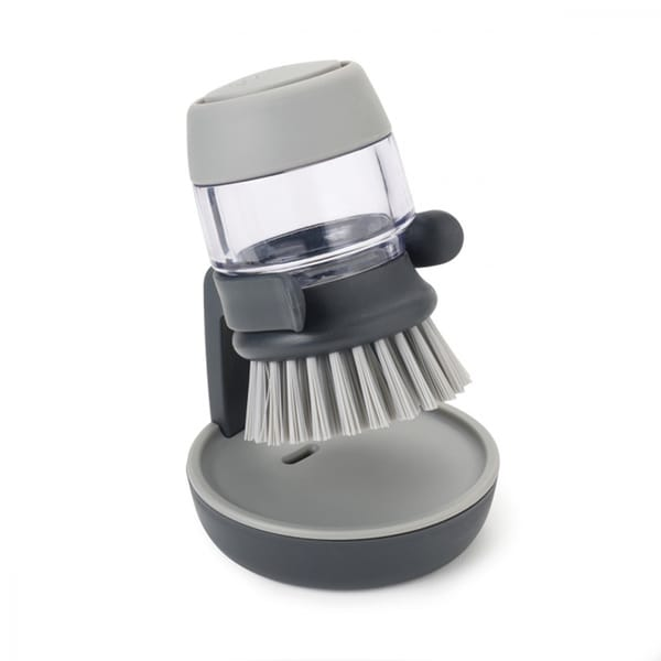 Joseph Palm Scrub Grey Soap Dispensing Brush with Storage Stand