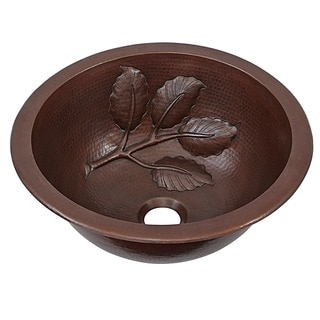 SIinkology Newton 14 inch Dual Mount Handmade Pure Solid Copper Bath Sink with Leaf Design