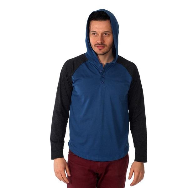 Filthy Etiquette Men's Long Sleeve Raglan Cut Hooded Henley in Blue