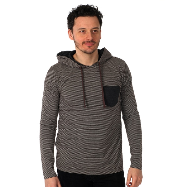 00Nothing Men's Pullover Hoodie with contrast chest pocket in Black