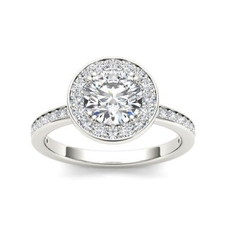 De Couer 14k White Gold 1 1/4ct TDW Diamond Single Halo Engagement Ring (H-I, I2)