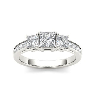 De Couer 14k White Gold 2ct TDW Diamond Three-Stone Engagement Ring (H-I, I2)