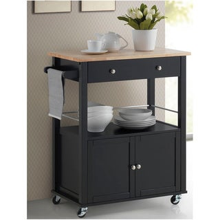 Baxton Studio Denton Contemporary Black Kitchen Cart with Wood Top