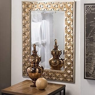 Benner Contemporary Golden Finish Rectangle Accent Wall Mirror