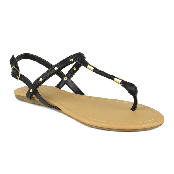 Mark and Maddux Women's Brandon-04 Gold Plated T-strap Sandals