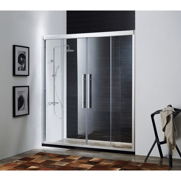 Paragon Bath CLARITY Soft Closing Premium 8 mm Thick Clear Tempered Glass 59 x 72-inch Chrome Shower Door