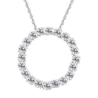 10k White Gold Aquamarine Gemstone Circle Pendant