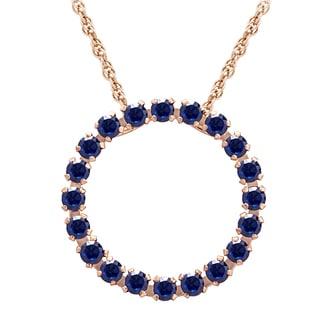 10k Pink Gold Blue Sapphire Circle Pendant