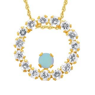 10k Yellow Gold Opal Gemstone and White Topaz Circle Pendant