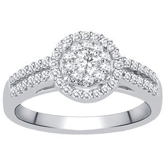 14k White Gold 1/2ct TDW Diamond Halo Unity Ring (H-I, I2-I3)