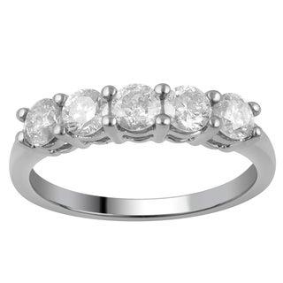 10k White Gold 1ct TDW Diamond 5-stone Band