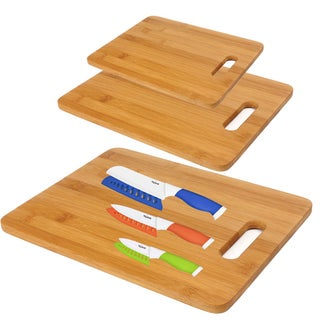 Ceramic Knife Set with Covers and 3 Bamboo Cutting Boards