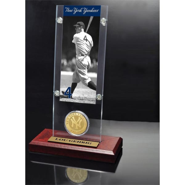 Lou Gehrig Ticket & Bronze Coin Acrylic Desk Top