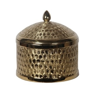 Metallic Goldtone Large Round Ceramic Jar with Lid