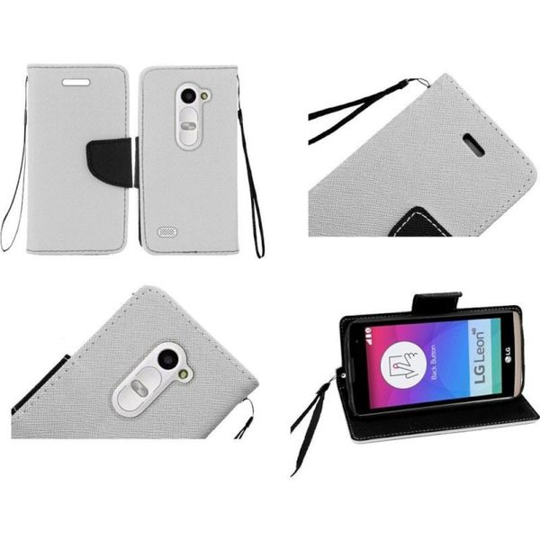 Insten White/ Black Leather Phone Case Cover Lanyard with Stand/ Wallet Flap Pouch For LG Leon